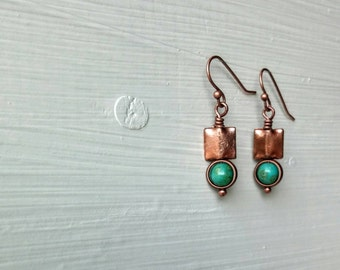 Turquoise and Copper Square Earrings