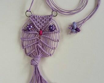 Macrame Owl Necklace Waxed Cotton Lavender 1* - Adore the Cloth