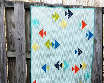 Mod Fishies: modern baby twin and throw quilt w fish by Quilt Story QuiltStory