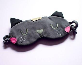 GRAY Cat Sleep Mask GREY Cat Eye Mask Kitten Eyemask Kitty Cat Mask Cute Animal Sleeping Mask Catnap Mask Cosplay Mask Travel Flight Masks