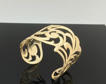 Butterfly Swirl Design Cuff Bracelet // Brushed Gold Finish // Tarnish Resistant // Size 7