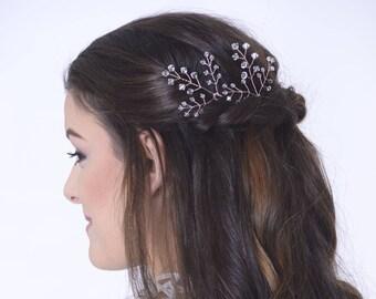 Rose gold hair accessories, bridal hair pins, rose gold hair pins, crystal hair vine, blush hair vine, rustic hair vine, wedding hair piece,
