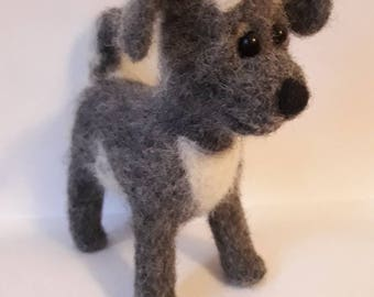 Felted doggy.Toy.Handmade.Of wool.About 15cm. Needle felting.