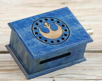 Star Wars soundtrack cover and design inspired handmade wooden music box