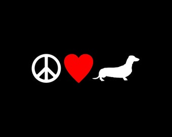 Dachshund, Decal, Dog Decal, Dog Sticker, Love Decal, Heart Decal, Vinyl Dog Decal, Love Dachshund, Car Decal, Gift under 10, Gift for her