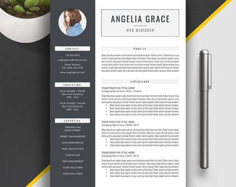 Professional Resume Template, Cover Letter, CV Template, 1, 2, 3 Page Office Word Resume, Modern Creative Resume. Printables. Angelia