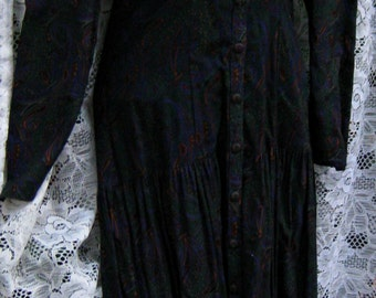 XS Gunne Sax dress PINE Green dress vintage 1980s 80s lace collar dress, Button Up Down cream white collar dress, lace collar dress