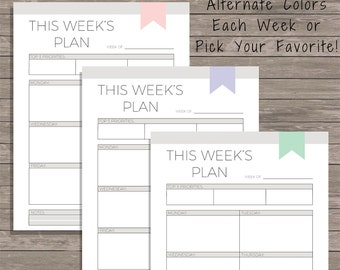 Weekly Planner Printable - 2018 Weekly Planner - Work Planner - Weekly To Do List - Goal Planner - Weekly Schedule - Planner Download