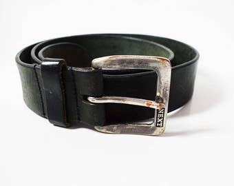 Next Mens Vintage Leather Belt Black