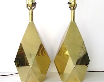 Pair Mid Century Modern Faceted Mirrored Brass Lamps - Faceted Brass Table Lamps - Geometric Brass Lamps -