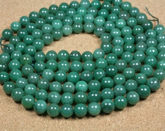 Green Aventurine Round Beads - Smooth Shiny Round Beads, 8-9mm, 16 inch strand