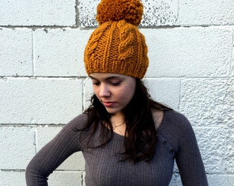 Hand Knit Hat Womens Chunky Cable Pom Pom Beanie Hat - Butterscotch - MADE TO ORDER