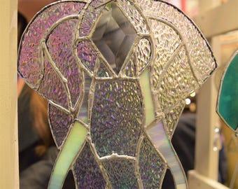Iridescent Stained Glass Elephant Suncatcher