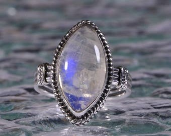 Blue Moonstone Ring Natural Moonstone Jewelry Sterling Silver Jewelry Moonstone Ring