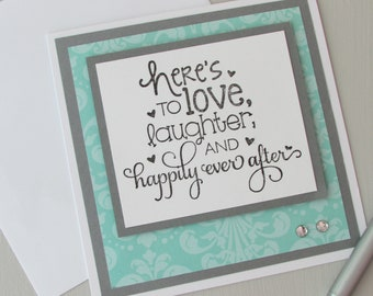 Wedding card-Greeting cards with sentiment-square cards,modern wedding cards,fun cards,turquoise cards,stamped cards,handmade/homemade cards