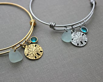 Silver or Gold sand dollar bracelet, adjustable wire bangle bracelet,  genuine sea glass Swarovski crystal birthstone, Beach glass jewelry