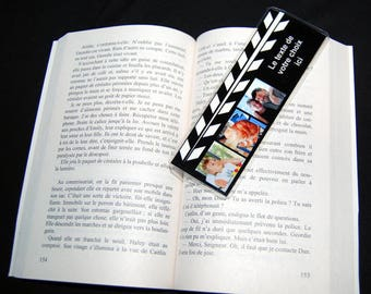 Personalized bookmark clap cinema 3 photos and text of your choice