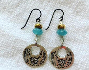 Springtime Bali Thai Silver Earrings with Chalcedony and Brass Nuggets/Flowers/Leaves/Nature Jewelry