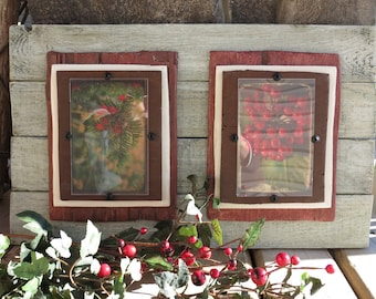 Distressed Whitewashed Wood Plank Double Frame for 4X6, Wall Hanging, Christmas, Rustic, Shabby Cottage, Beach, Coastal