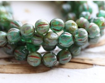 SEASHORE MELONS .. 25 Picasso Czech Melon Beads 6mm (5098-st)
