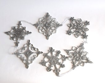 SET OF 6 Silver Paper Snowflakes, Paper Quilled Snowflake, Christmas Snowflake, Christmas Ornament, Christmas Decoration, Paper Quilling