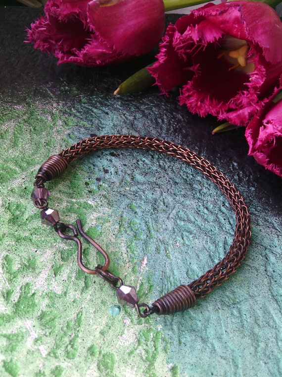 Copper Viking Knit bracelet Wire wrapped jewelry Norse Viking