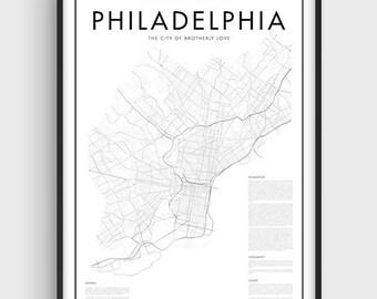 Minimalistic Philadelphia Map Poster, Black & White Minimal Print Poster, Art, Home Art, Minimal Graphics, Map Home Decor