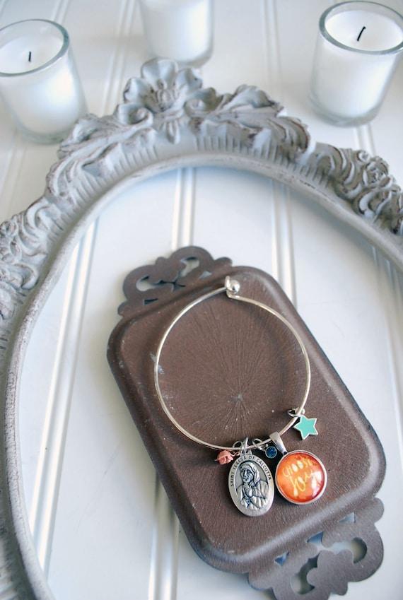 Choose Joy Bangle Charm Bracelet * Catholic Christian Inspirational Jewelry * Holy Medal * Gift for Her / Easter Confirmation Gift