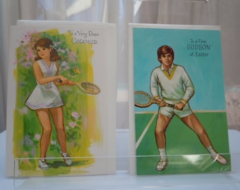 "Vintage EASTER Cards Set  2- ""For GodChild and GodSon ""  1970's New Old Stock TENNIS Theme 4"" x 6"""