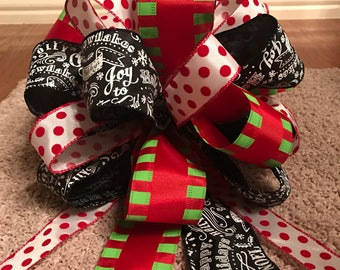 Christmas Tree Bow Topper - Red, Lime Green, White Polka Dot, and Black Chalkboard Ribbon
