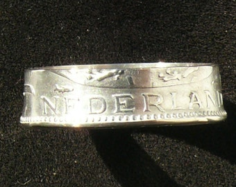 Silver Coin Ring 1956 The Netherlands 1 Gulden, Double Sided and Ring Size 9