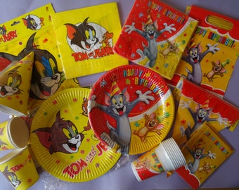 Tom & Jerry Party Decor Birthday Plates Napkins Tablecover Cups Flag Banner