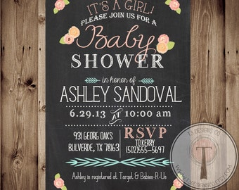 Baby Shower Invitation, BABY GIRL, Floral, Shabby Chic, Baby Shower,invite, Invitation, chalk, chalkboard, 1094