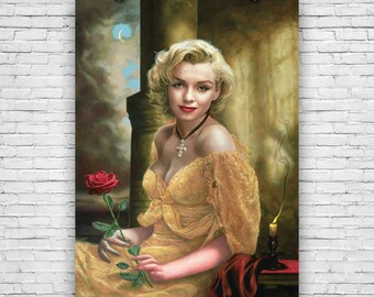 "Marilyn Monroe, Exquisite Art Portrait with Flower, 24""x36"" Art Print Poster"