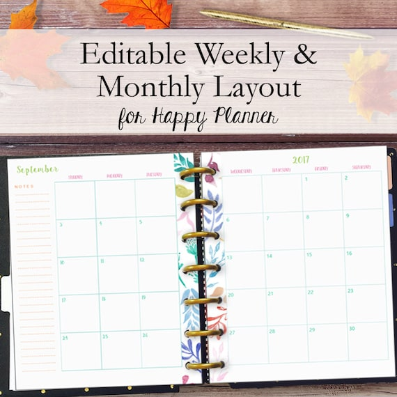 Fall Happy Planner Printables Weekly and Monthly Inserts