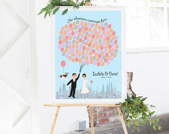 Personalized Wedding Guestbook with Pets, Balloons, and World Travel