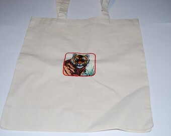 Tote bag natural cotton with beautiful tiger head
