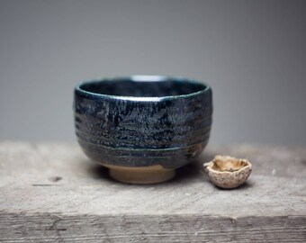 Black glazed tea cup, Wood fired stoneware ceramic pottery tea bowl, chawan