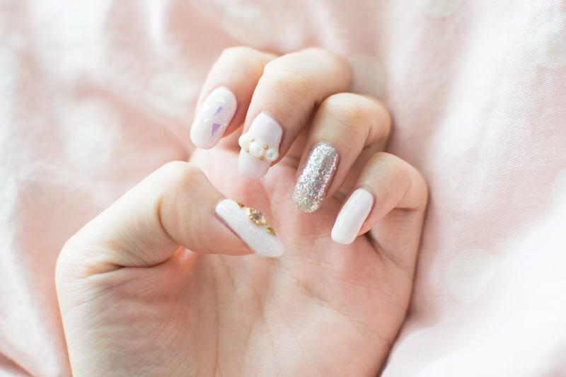 Glass Pearl Glitter Pastel Aurora Clear Nails, kawaii, lolita nails ...