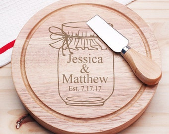 Vintage Jar Personalized Gourmet 5pc. Cheese Board Set - Holiday Gifts (JM9107933-CS913)