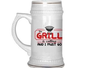 22 oz Ceramic Beer Stein BBQ Grilling Mug The Grill Is Calling And I Must Go