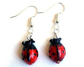 ladybird Earrings  - insect earrings - gardening earrings