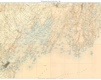 Casco Bay 1893  Old Topographic Map USGS  -  Custom Composite Reprint  Maine