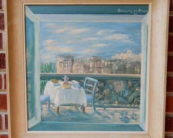 Vintage Mid-Century WINDOW View ' Balcony in ATHENS' Greece Impressionist Oil Painting Framed c1963