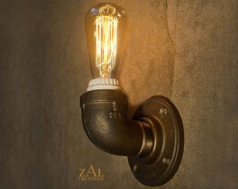 Wall Light. Sconce. Industrial. Steampunk. Edison. Single bulb.