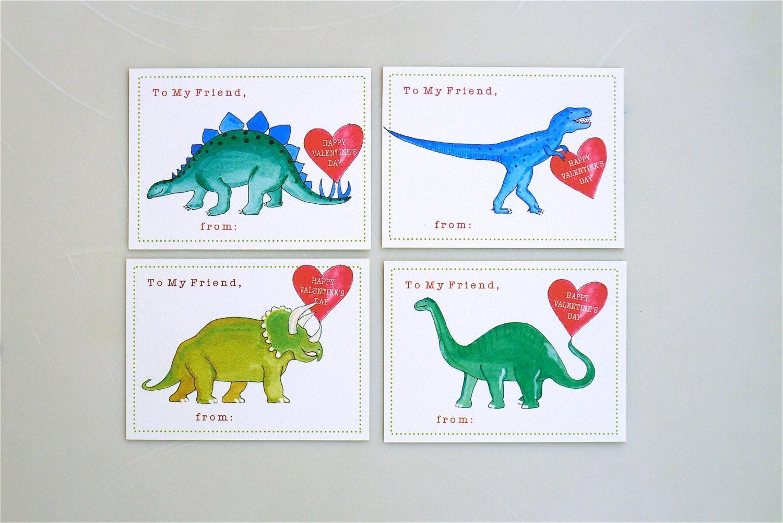 PRINTABLE Dinosaur Valentine cards for kids school valentine