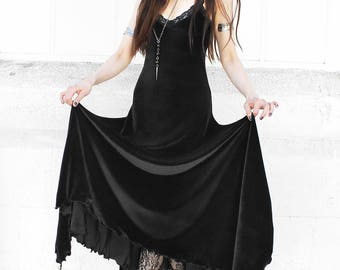 WITCHY VELVET DRESS full length black camisole maxi dress with scalloped stretch lace trim