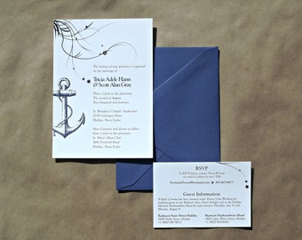 Nautical Themed Invitation with RSVP Card (also available as a print yourself digital file)
