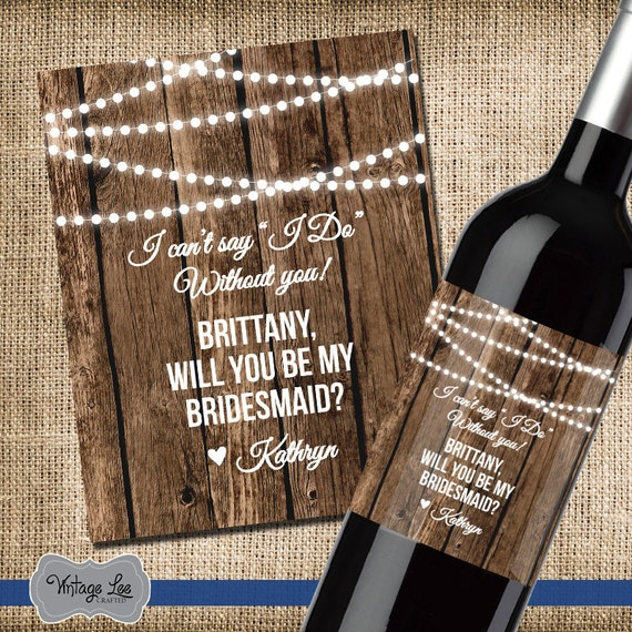 Asking For Wedding Gifts: Asking Bridesmaid Gift Will You Be My Bridesmaid Wine Label