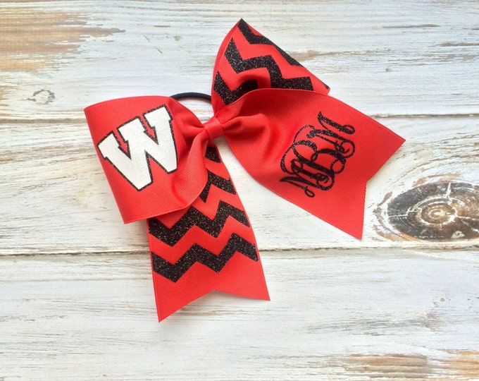 Monogrammed Cheer Bows, Hair Bows, Glitter cheer bow, Cheer, Softball, Personalized Team Cheer bow, Black, Red, Chevron